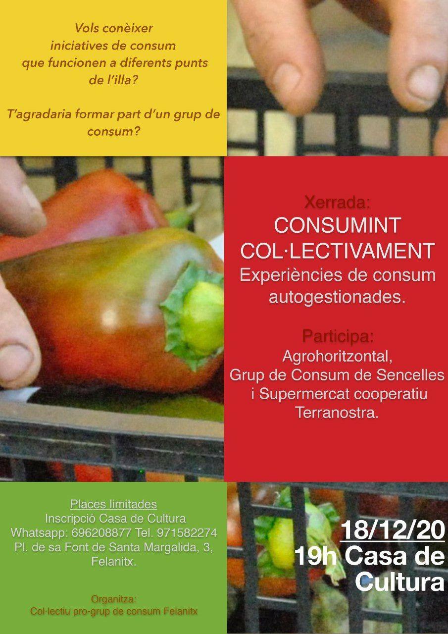 """IVENDRES 18 Sala actes Casa de Cultura, 19h XERRADA - COL·LOQUI """"Consumint col·lectivament: Experiències de consum"""